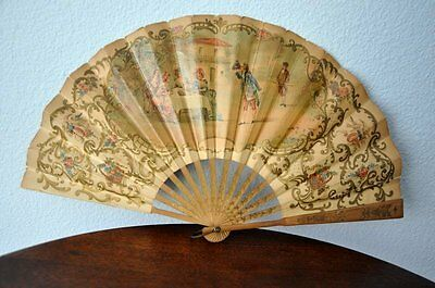 Antique Hand Held Hand Painted Delicate Paper Folding Fan, Pre-1901, Victorian