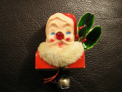 Working Vintage light up nose Santa Claus Pin Chenile beard & Holly pull bell