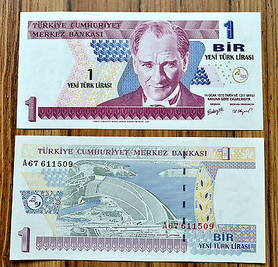 Turkey 1 NEW LIRA 2005 P-216  UNCIRCULATED PAPER  MONEY BANKNOTE CURRENCY