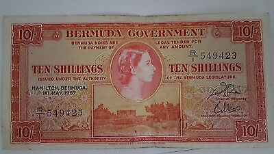 1957 Bermuda Banknote QE II,10 Shillings VF/EF, Make an Offer