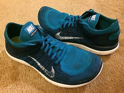 new product f532a 6c5d2 Men s Nike Free 4.0 Flyknit Running Shoes Turquoise Blue Size 14 (631053 -401)