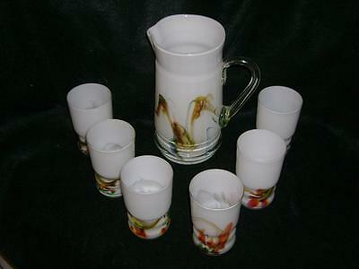 VINTAGE HAND PAINTED ITALIAN BEVERAGE SET PITCHER w/6 GLASSES NEVER USED