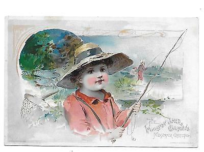 Victorian Trade Cards-Woolson Spice/lion Coffee Boy Fishing 1891