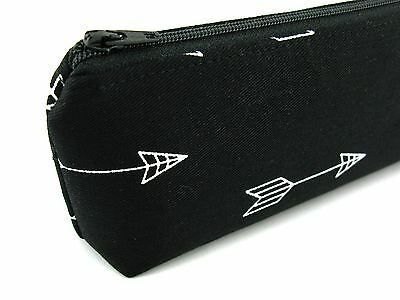 White Arrows on Black Pencil Case - Pencil Pouch - Zippered Pencil Case