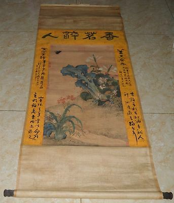 """China Ming Dyn Hanging Scroll Painting""""Flower""""Famous Painter Collectibles 明代 赵文俶"""