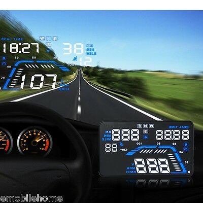 """Q7 HUD 5.5"""" Car GPS Head Up Display with Speed Warning MPH Fuel Consumption"""