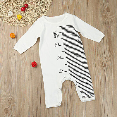 Newborn Infant Baby Boy Girl Ruler Playsuit Jumpsuit Romper Outfits Clothes Set