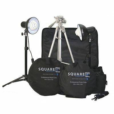 Square Perfect Platinum Photo Studio In A Box, 2 Light Tents 8 Backgrounds LM123
