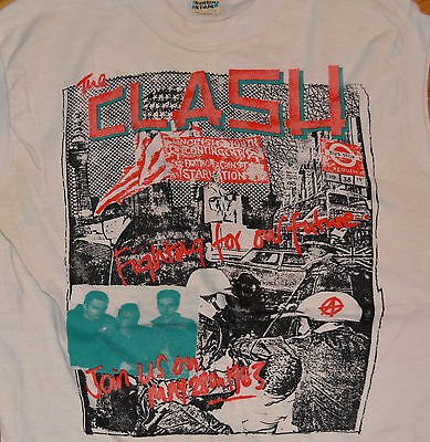 RaRe *1983 THE CLASH* vtg punk rock concert tour sleeveless t-shirt (M) 70s 80s
