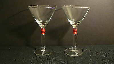 "Beefeater Gin 6 3/4"" Martini Glasses w/ Red Bands - 2"
