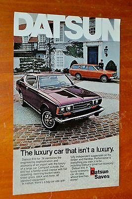 Cool 1974 Datsun 610 Coupe & Wagon Ad - Vintage Retro 70S Classic Car