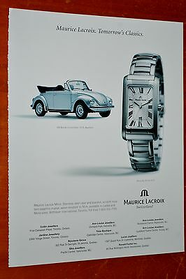 1973 Volkswagen Beetle Convertible For 2000 Maurice Lacroix Watches Canadian Ad