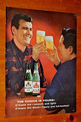 Beautiful 1958 Okeefe Beer Friends Toasting Canadian Ad + Coca Cola Ad On Back