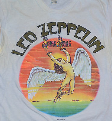 RaRe *1984 LED ZEPPELIN* vtg swan song rock concert shirt (M/L) 80's Jimmy Page