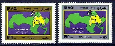 IRAQ Liberation Of Fao & Palestine Map 1988 Set Saddam Hussein Era sc# 1357 MNH