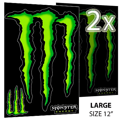 2 x Large HUGE Monster Energy Drink Decal Sticker 12'' ATV/Truck/Buggy/Car