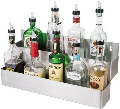 """22"""" Stainless Steel Double Tier Commercial Bar Speed Rail Liquor Display Rack"""