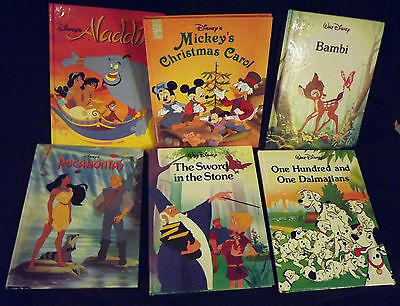 "Disney Series Mouse Works Books Lot of 6 11"" HB Mickey Christmas Bambi Pocahon"