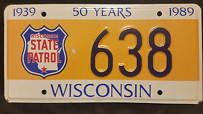 1989 Wisconsin State Patrol 638 License Plate