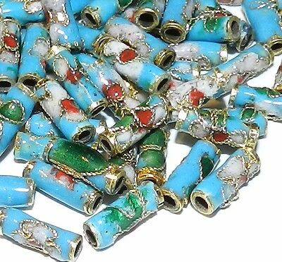 CLL138L Blue 9mm Round Tube Enamel Overlay on Metal Cloisonne Beads 50/pkg