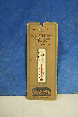 Vintage cardboard thermometer H.L. WHITNEY SABEGO LAKE MAINE COAL ADVERTISING