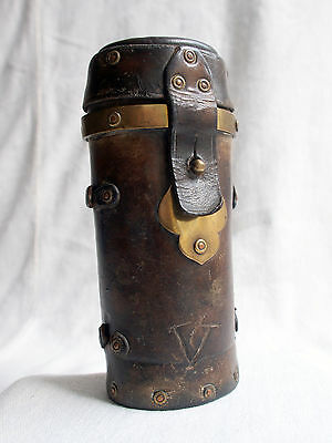 Antique French 19th Century Military Artillary Case Leather & Brass - Marty 1901