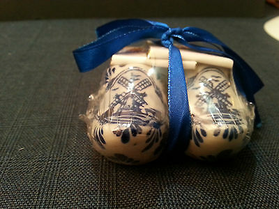 Pair Of a New Delft Holland Miniature Clog Shoes