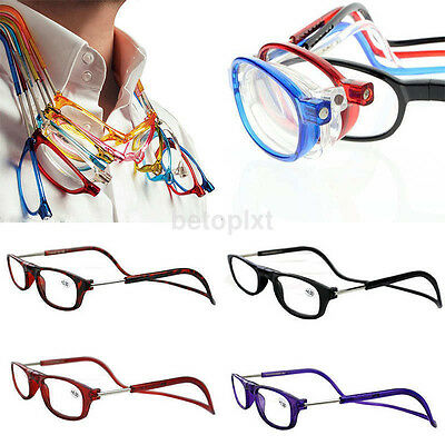 Unisex Magnetic Folding Frame Readers Reading Glasses Easy Hang Neck +1.0~+4.0