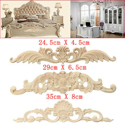 4 Size Wood Carved Long Onlay Applique Unpainted Flower Door Home Decor