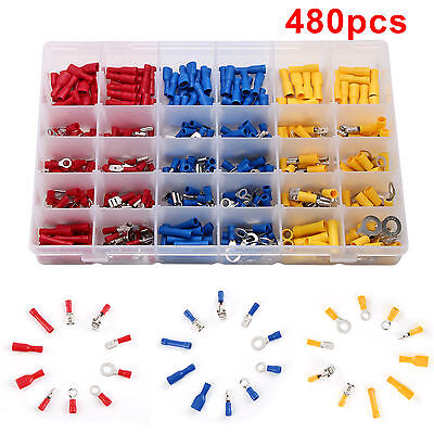 480pc Insulated Assorted Electrical Terminal Crimp Connector spade Set Box