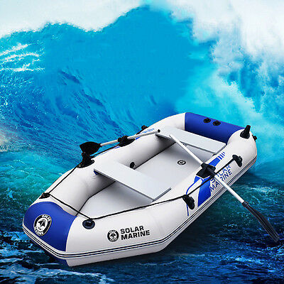 7.5ft Inflatable Boat Raft Fishing Dinghy Tender Pontoon Boat With 2 Alloy Oars