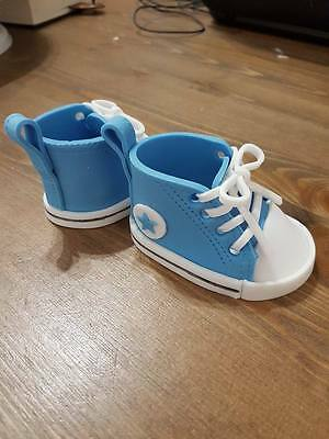 Edible Converse style baby shoes christening/baby shower/birthday cake topper
