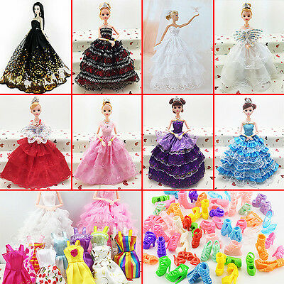 10 Pcs Fashion Handmade Dresses and Clothes 10 Shoes For Barbie Doll