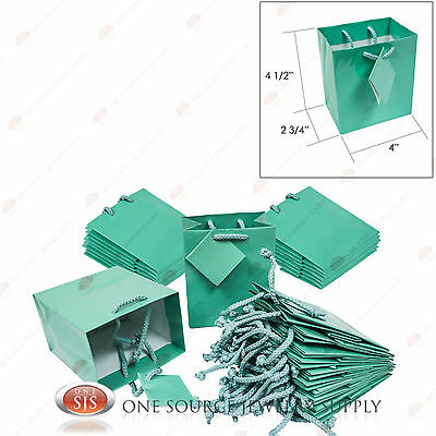 """25 Glossy Teal Blue Paper Tote Gift Merchandise Bags 4"""" x 2 3/4"""" x 4 1/2""""H"""