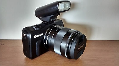 Canon EOS M Mirrorless Digital Camera (Black) with 18-55mm Lens and Flash Kit