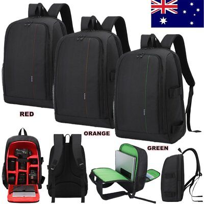 Waterproof Travel DSLR SLR Camera Backpack Rucksack Laptop Lens Case Bag Nylon