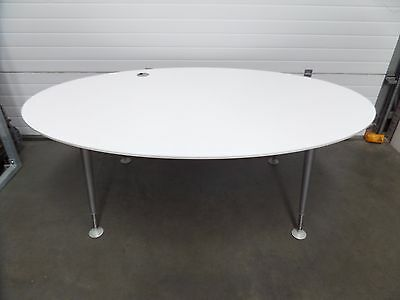 White Oval Office Boardroom Table with Cable Management Point