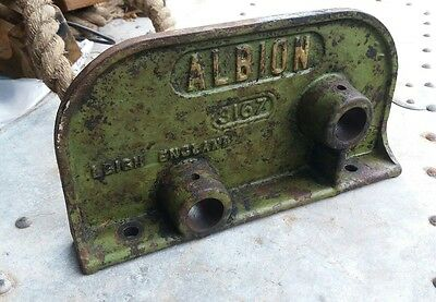vintage cast iron sign Albion Leigh England steampunk industrial sign