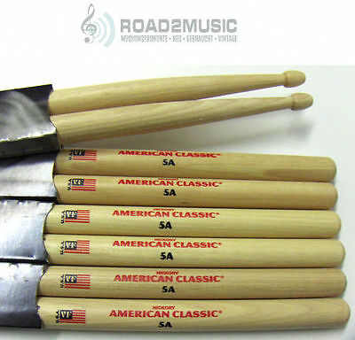 6 Paar Vic Firth 5A American Classic USA Hickory Drumsticks  *Angebot*