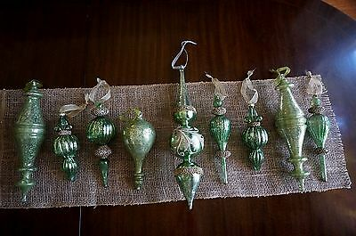 Lot of 9 Vintage Mercury Green Glass Christmas Ornaments