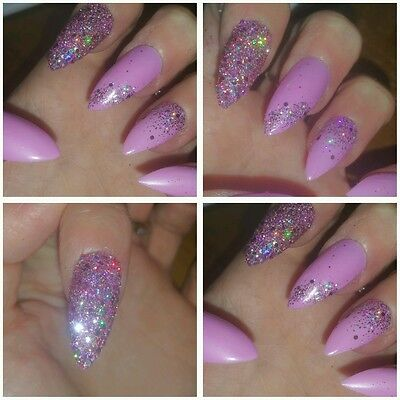 Unique Hand Painted Stiletto Full False Nails Pink & Pink Diamond Glitter