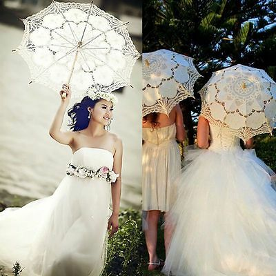 Wedding Vintage Lace Umbrella Parasol Party Bridal Waterproof Rain Sun Umbrella