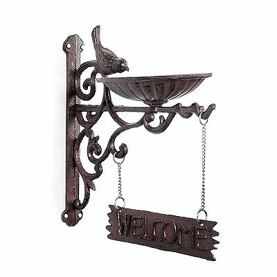 Decorative Vintage Brown Cast Iron Wall Bracket Bird Feeder & 'Welcome' Sign