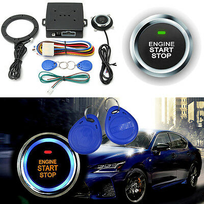 12V Remote Control Car Engine Push Start Button RFID Lock Ignition Starter Kit