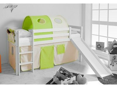 spielbett hochbett kinderbett kinder bett mit rutsche jelle 90x200 cm vorhang eur 149 00. Black Bedroom Furniture Sets. Home Design Ideas