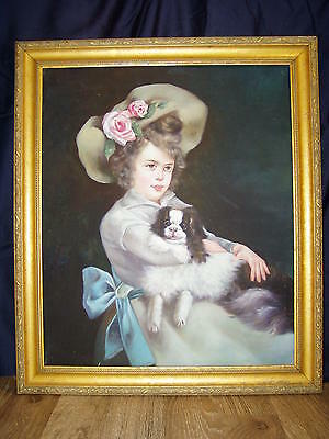 Hand Painted Victorian Style Girl and Cavalier King Charles Spaniel