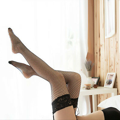 Elastic Knee High Black Thigh Socks Sheer Hollow Lace Top Fishnet Stockings UK
