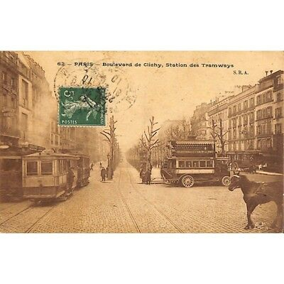 [75] Paris - Boulevard de Clichy. Station de Tramways.