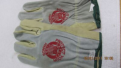 "Unused Union Pacific ""Safety First"" Railroad Workers Leather Gloves, Size M"