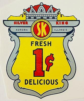 Silver King, One Cent. Vending, Coinop, Water Slide Decal # Ds 1038